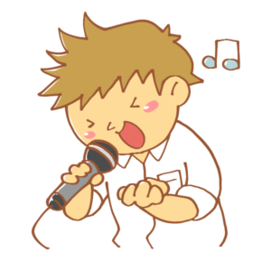 カラオケで歌う人